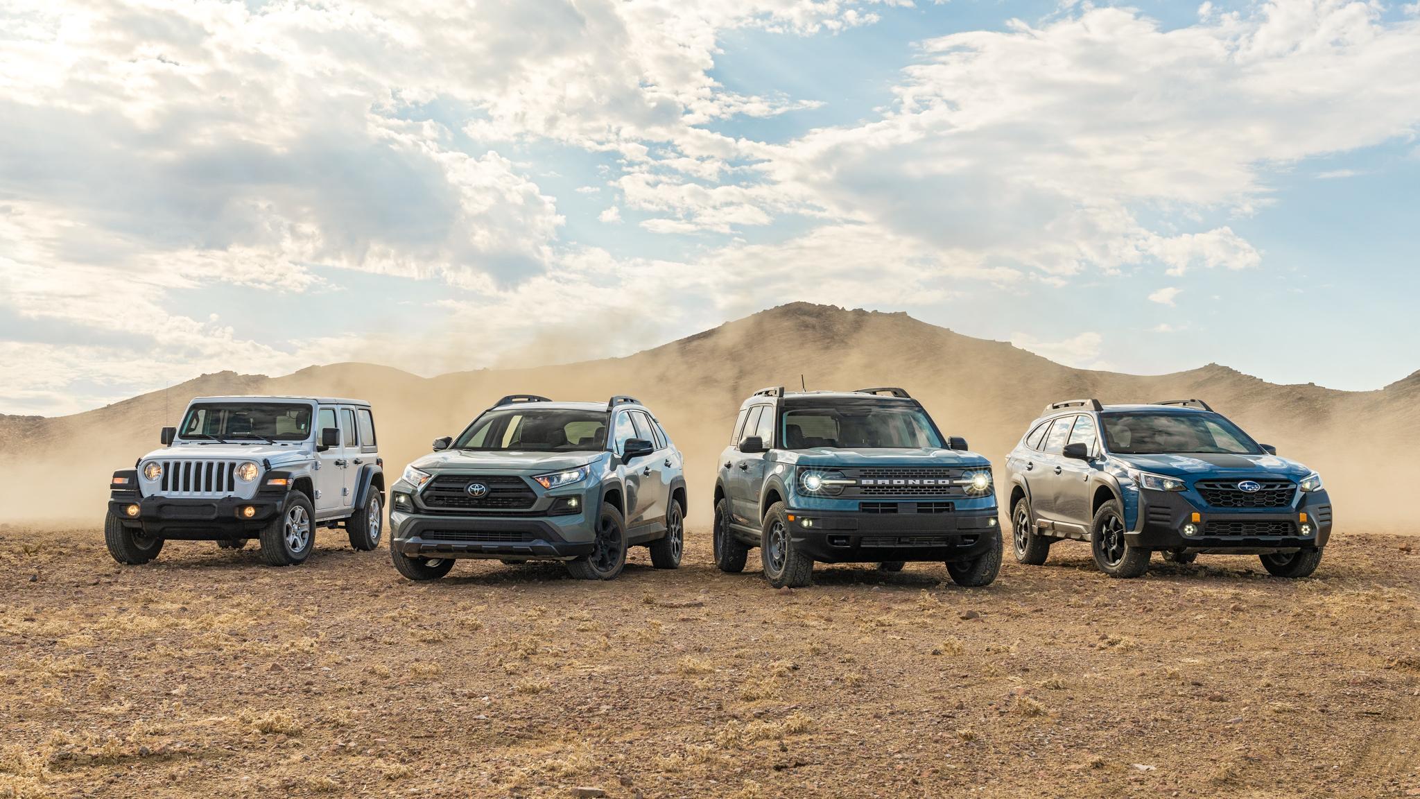 Bronco Sport vs. Wrangler, Outback Wilderness, and RAV4 TRD Off-Road: Got Chops?